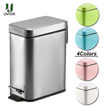 UNTIOR Silent Stainless Steel Trash Can 5L Rectangular Step Kitchen Waste Bin for Bathroom Kitchen Living Room Office Trash Bin цена и фото