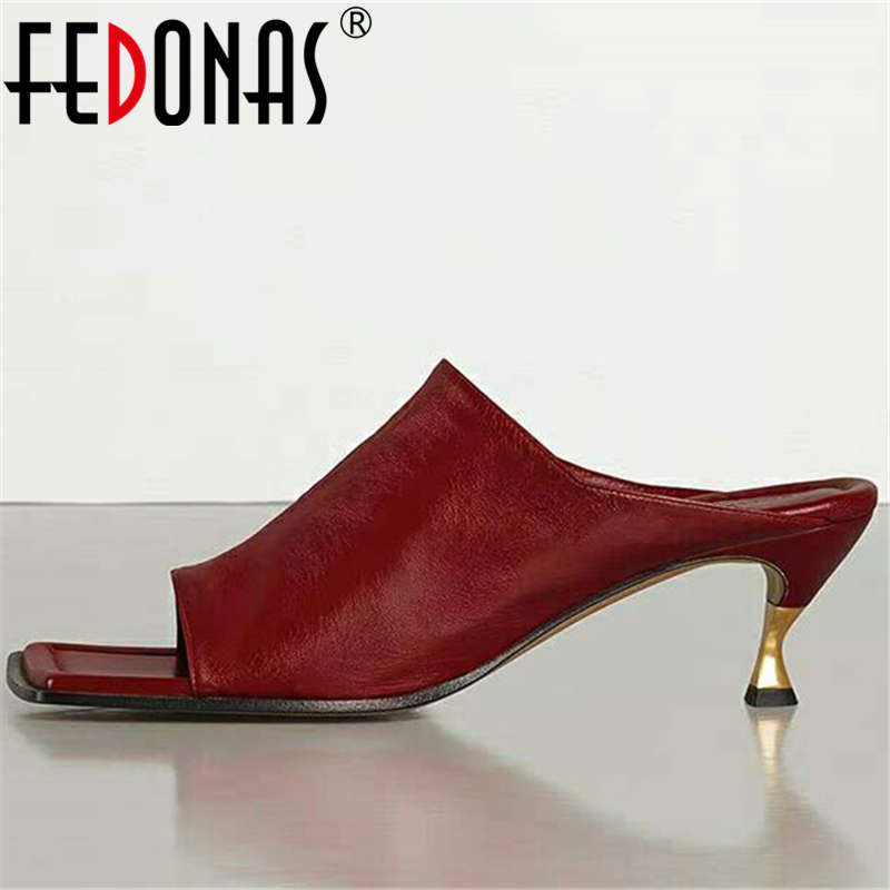 FEDONAS Sexy Slingbacks Shallow Women Shoes Genuine Leather Sandals For Girls Classic Design Fashion Party Newest Shoes Woman