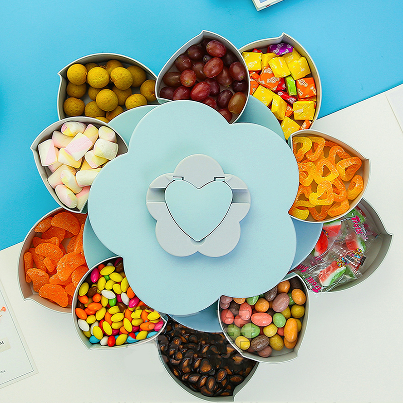 Rotierenden Blütenblatt Candy Box 2-schicht Snack Tray Fall Mutter Lagerung Box Rotation Getrocknete Obst Obst Platte Hochzeit Hause veranstalter Lagerung