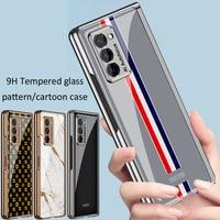 GKK-funda plegable para Samsung Galaxy Z, carcasa transparente mate con patrón de dibujos animados, plegable, plegable, 2 y 5G