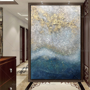 100% Handpainted By Professional Artist 2020 Handmade Abstract Landscape Oil Painting On Canvas Living Room Home Decor Gold Art(China)