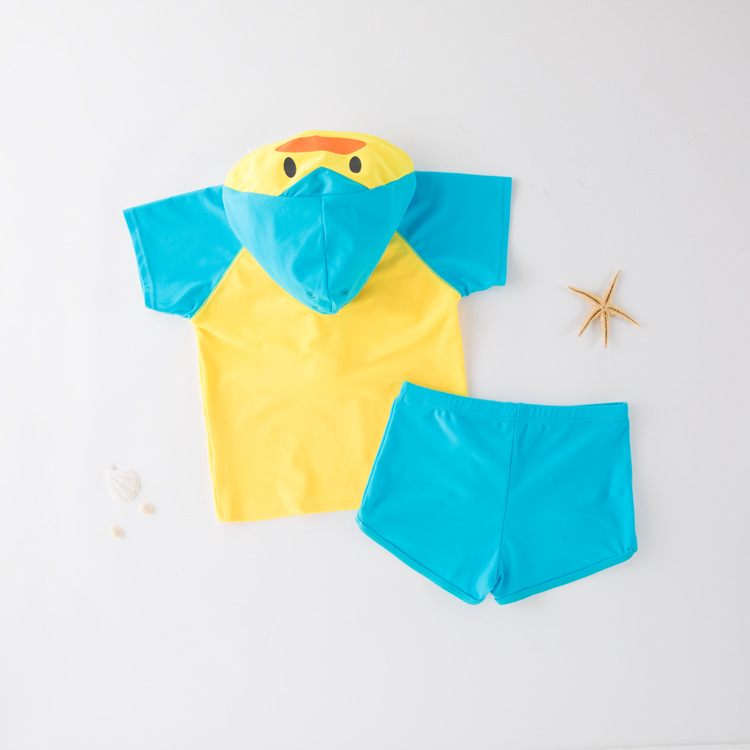 Short In Size Special Offer Split Type Swimming Short Sleeve Hooded Duck-KID'S Swimwear Hot Springs Clothing