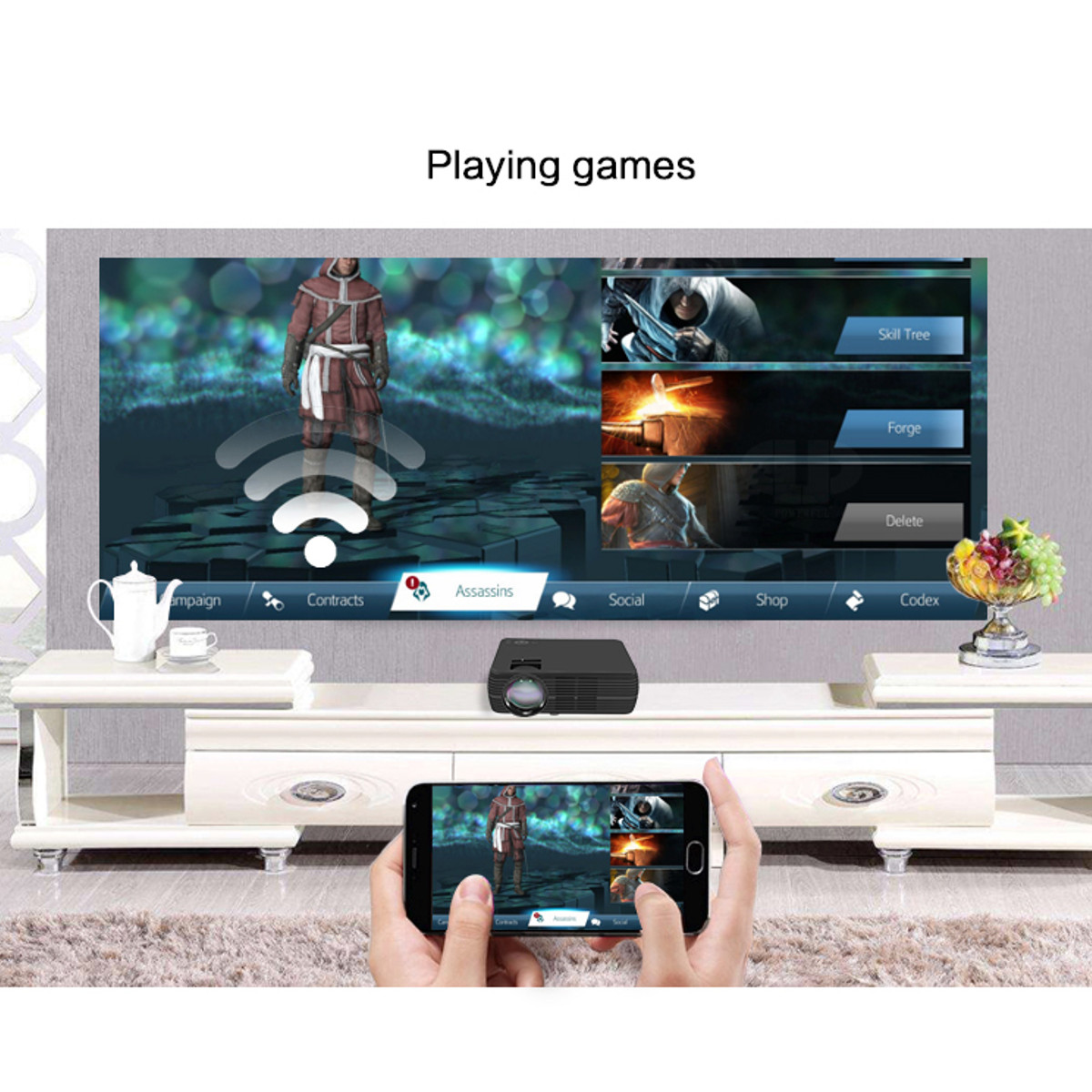 Video Gaming - TheaterMax™ X5 LCD Projector 7000 Lumens Support 1080P HD Multimedia Home Cinema Smart Home Theater