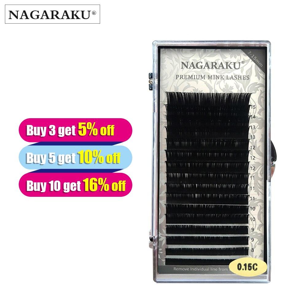 NAGARAKU J B C D Curl  Length 7-15mm Mixed In One Tray Eyelash Extension Individual Faux Mink Eyelash Soft  False Eyelashes