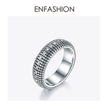 ENFASHION Vintage Crystal Mosaic Plaid Ring Men Stainless steel Lady Small Grid Finger Rings For Women Fashion Jewelry R194026(China)