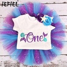 Для маленьких девочек один год платье русалки 1 наряд для первого дня рождения, летняя одежда для мальчиков Детский комбинезон одежда отдел...