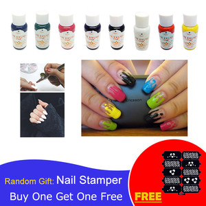 Image 1 - 30ml Airbrush Nail Art Ink Nail Pigment Set for Hand Stencils Painting Color Spray Gun Nail Accessories 8 Colors