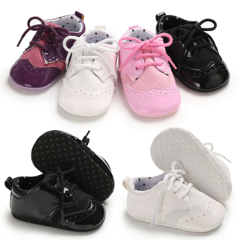 Fashion Newborn Baby Casual Shoes Toddler Girls Boys Anti-slip Leather Christening Pram Shoes Soft Sole Sneaker Prewalker
