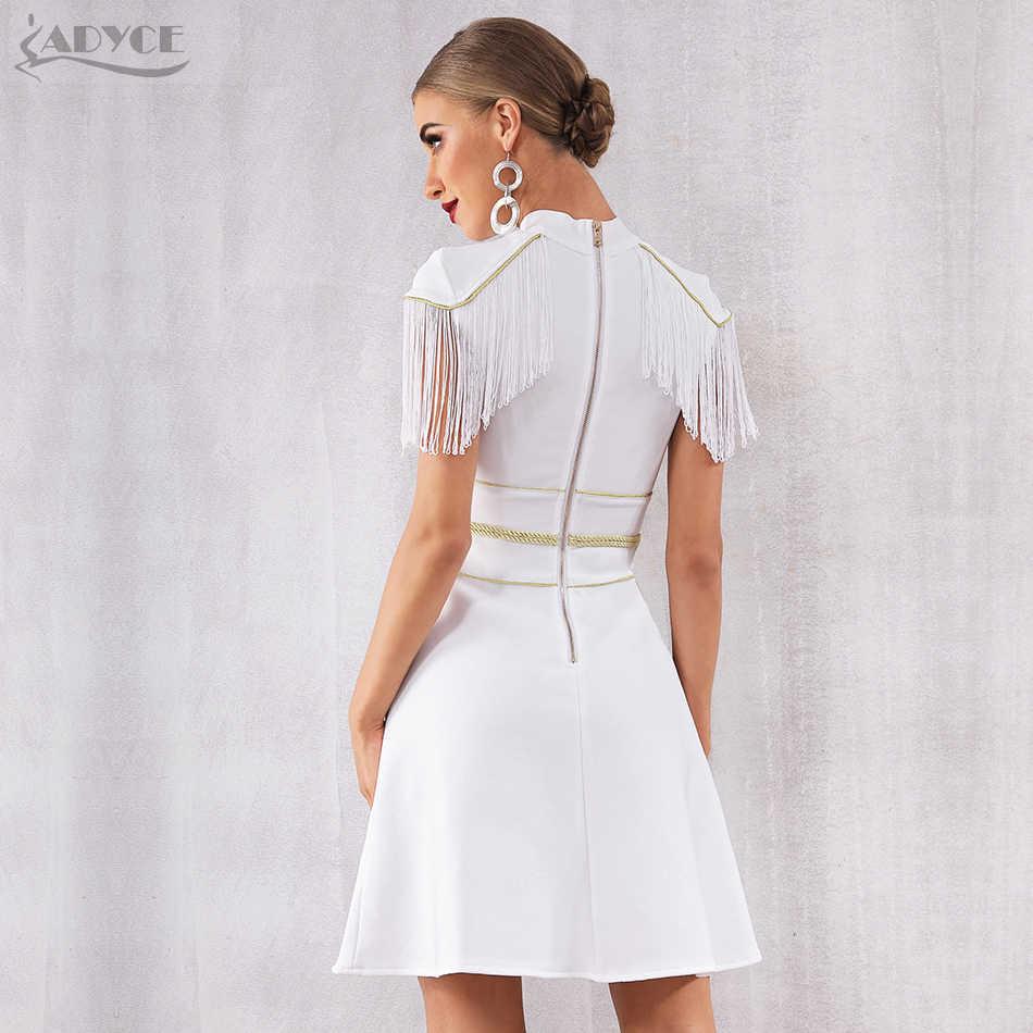 Adyce 2019 Neue Sommer Frauen Weiß Quaste Verband Kleid Sexy Kurzarm Mini Club Kleid Vestidos Elegante Promi Party Kleid