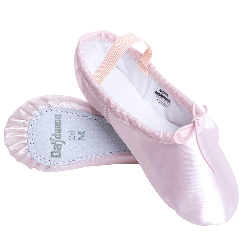 Girls Kids Satin Ballet Shoes Pink Professional Full Sole Ballet Dance Flats Birthday Party Shoes