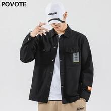 POVOTE brand men's tooling coat Korean Trend casual fashion top hip hop coat couple zipper hat trend design