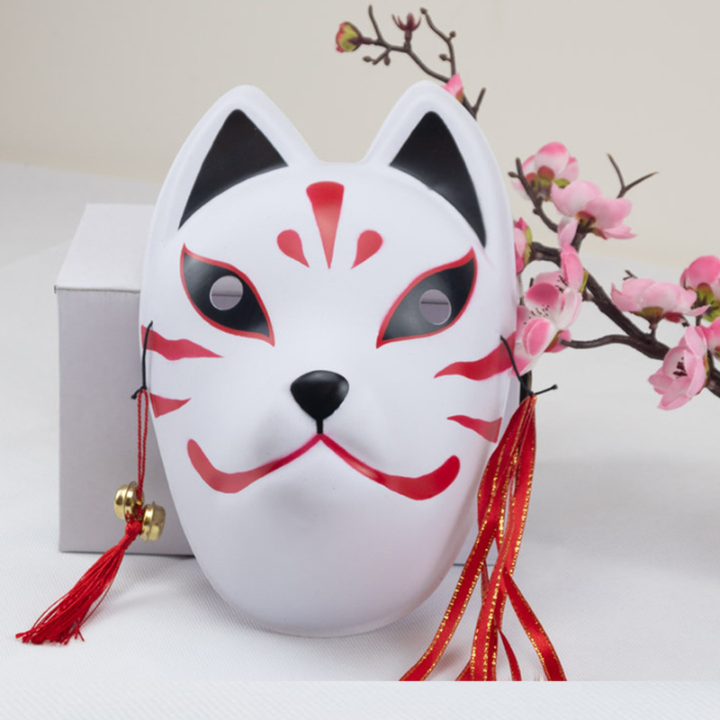 Full Face Japanese Fox Mask Kitsune Cosplay Masks Masquerade Fox Masks Japanese Mask PVC Festival Kabuki Masks Cosplay Costume