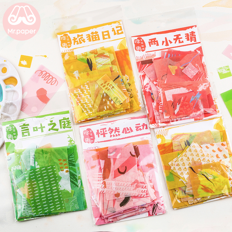 Mr.paper 70Pcs/lot Ins Style Red Pink Yellow Green Doodle Deco Stickers Scrapbooking Bullet Journal Deco Stationery Stickers