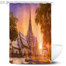Asian architecture Bath Curtain farmhouse decor Waterproof Polyester  tropical pattern landscape Shower Curtain Screen with hook tree pattern shower curtain 1pc with hook 12pcs