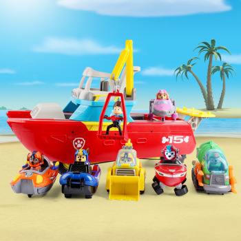 Hot Sale Genuine Paw Patrol Dog Yacht Sea Patrol Vehicle Rescue Puppy Set Toys With Music Action Figures Toys Kids Child Toys