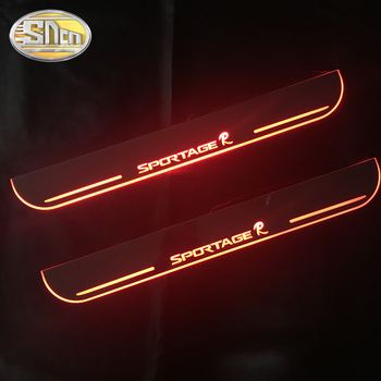 SNCN 4PCS Acrylic Moving LED Welcome Pedal Car Scuff Plate Pedal Door Sill Pathway Light For Kia Sportage 2015 2016 2017 2018 sncn 4pcs acrylic moving led welcome pedal car scuff plate pedal door sill pathway light for volkswagen vw tiguan 2016 2017 2018