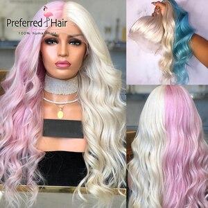 Perucas de cabelo humano frontal, transparente, loira, meia rosa, pré-selecionado, remy, com renda, para mulheres