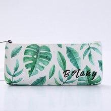 Кавайный чехол для карандаша листья молния карандаш сумка студенческая