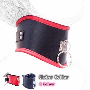 Leder Halsband Abschließbar mit Kette Leine für Fetisch Bdsm Bondage 1