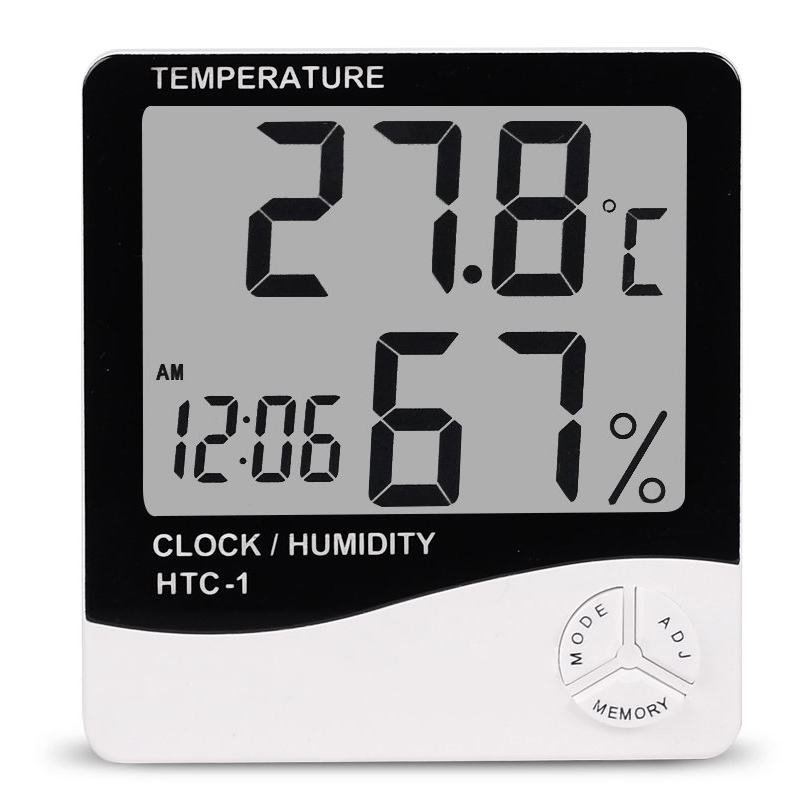 LCD Electronic Temperature Indoor Room Humidity Meter Digital Thermometer Hygrometer Weather Station Alarm Clock HTC-1