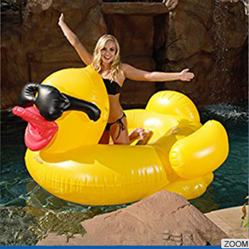JIAINF Hot Selling Pool Swimming Float Yellow Duck With Glasses Water Mattress Inflatable Pool Party Toy Swim Floating Row