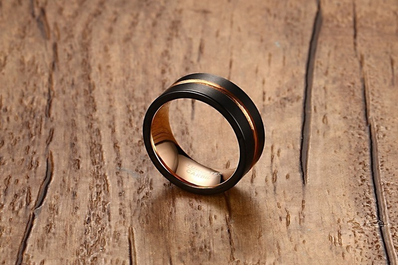 Fashion Mens Rings 8mm Black Brushed Tungsten Carbide Ring Rose Gold Inlay Groove Flat Cut Edge Men Wedding Band Jewelry anel masculino 17