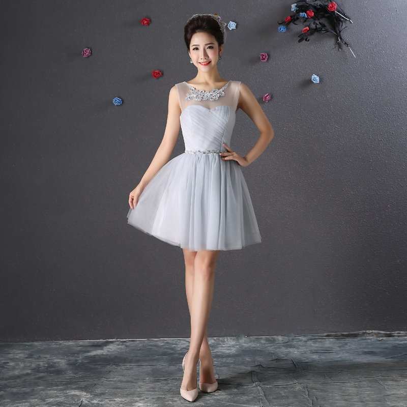 Junior Bridesmaid Dresses Short Elegant Wedding Guest Dress Formal Plus Size Tulle A-Line Sexy Simple Prom Sister Club Dress