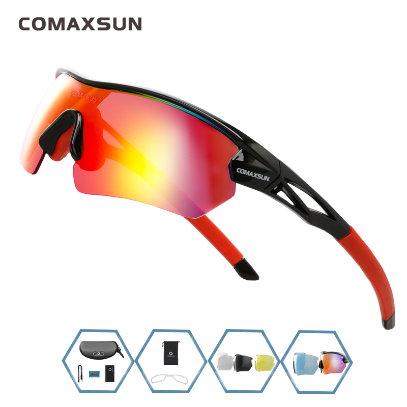 COMAXSUN Professional Polarized Cycling Glasses Bike Goggles Outdoor Sports Bicycle Sunglasses UV 400 With 5 Lens TR90 2 Style 12
