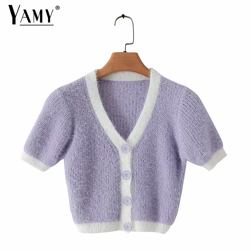 2020 Crop Sweater Women Cute Cardigan Vintage Knit Sweater Yellow Crop Top Knitted Sweater Pink Fluffy Cardigan Korean Clothes