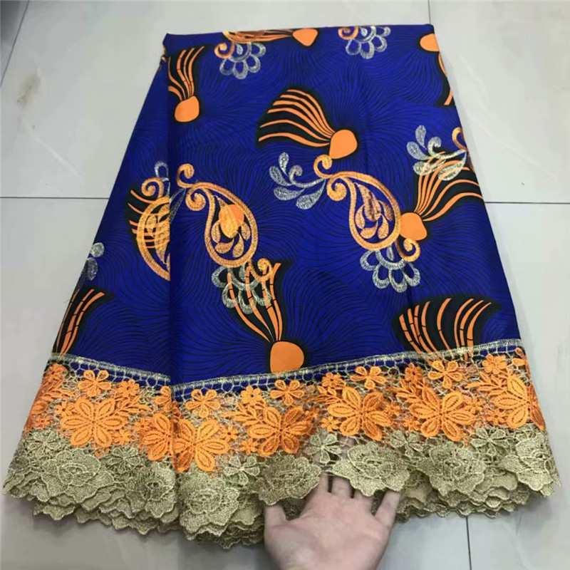 Ankara 100% coton africain cire tissu véritable doux cire broderie dentelle tissu Ankara tissu avec dentelle de cire de coton