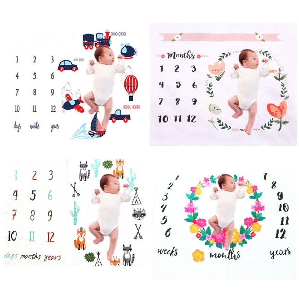 Cartoon Muster Infant Baby Milestone Foto Requisiten Hintergrund Decken Hintergrund Tuch Kalender Bebe Junge Mädchen Foto Zubehör