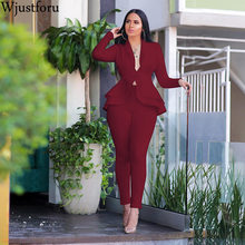 Wjustforu Casual Office Suit Womens Space Layer Ruffle Tops + Pencil Pants Bodyc