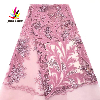 High Quality Baby Lace African Tulle Mesh Lace Fabrics Nigerian Pink Sequins Fabric Sequence Lace for Wedding Party Dress NI2268