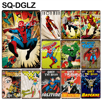 [SQ-DGLZ] Super Hero Tin Sign American Cartoon Wall Decor Metal Crafts Painting Plaques Art Poster