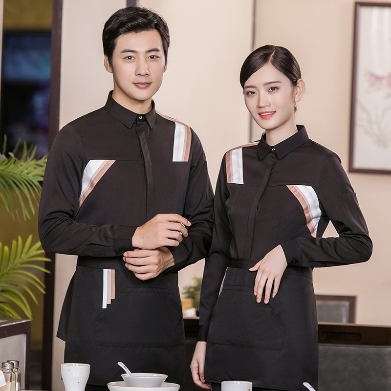 Catering Waiter Autumn And Winter Long-sleeve Blouse Western Coffee Shop Hot Pot Hotel Hotel Work Clothes Men And Women Set