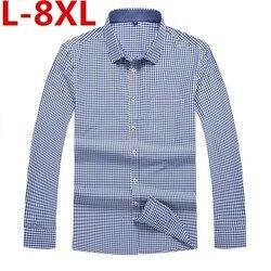 Plus größe 8XL 7XL männer Casual Shirt frühling Herbst Volle Hülse Plaid Hohe Qualität Social Dress Shirt Männer Marke kleidung Camisa