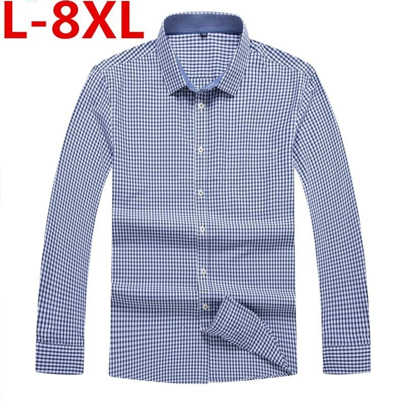 Plus Size 8XL 7XL  Men's Casual Shirt Spring Autumn Full Sleeve Plaid High Quality Social Dress Shirt Men Brand Clothing Camisa