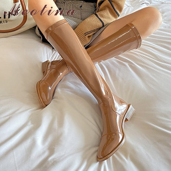 Meotina Low Heel Knee High Boots Woman Riding Boots Round Toe Long Boots Zip Block Heel Female Shoes Autumn Winter Brown Size 42 haraval handmade winter woman long boots luxury flock round toe soft heel shoes elegant casual warm retro buckle solid boots 289