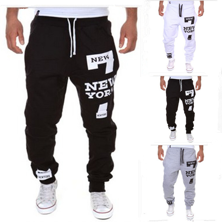 2015 New Style New York Printed Letter Design Korean-style Slim Fit Fashion Athletic Pants K031413