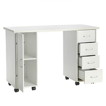 Manicure Table Double Edged Manicure Nail Table Station with Drawer White MDF Easy to