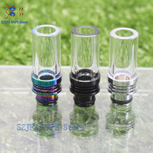 510/810 Glass Long Drip Tip Pyrex Glass Stainless Core Bend Mouthpiece For 510/810 Anti-fried Oil Wide Bore Vape Atomizer gtr1.5 510 glass and ss drip tip