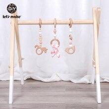 בואו לעשות 1 סט תינוק רעשן עץ Teether באני אוזן עץ חרוזים לשחק חדר כושר צעצועי עץ מונטסורי צעצוע עבור תינוק פעילויות צעצועים