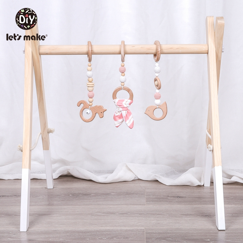 Let's Make 1set Baby Rattle Wooden Teether Bunny Ear Wood Beads Play Gym Wooden Toys Montessori Toy For Baby Activities Toys