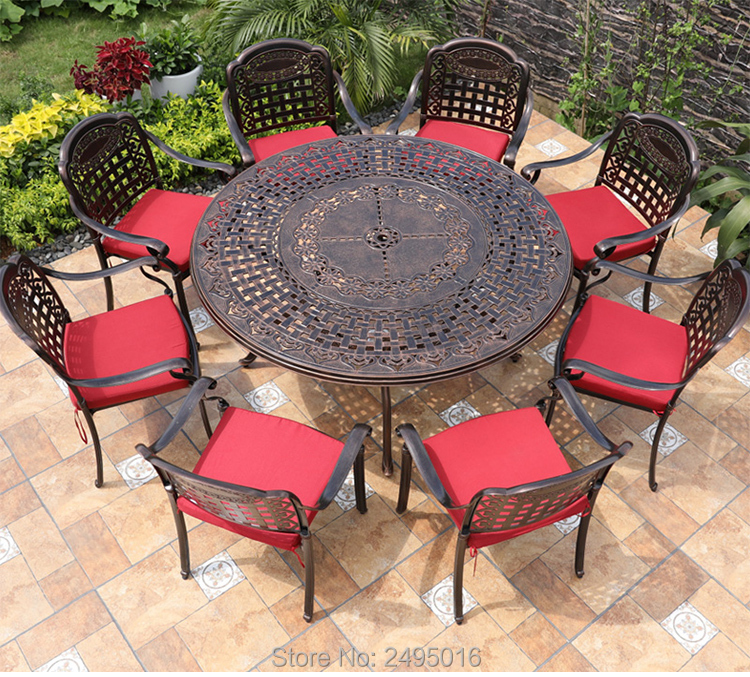 Set Of 9-piece Cast Aluminum Patio Outdoor Furniture Chair And Table Garden Sets All-weather-anti-rust In Bronze Color