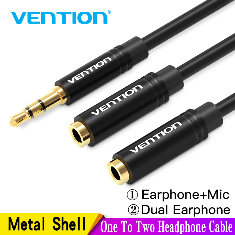 Black UGREEN Headphone Splitter for Computer 3.5mm Female to 2 Dual 3.5mm Male Headphone Mic Audio Y Splitter Cable Smartphone Headset to PC Adapter