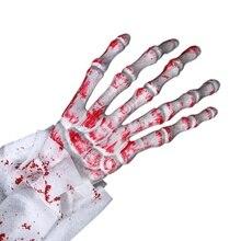 1 Pair Halloween Terrorist Gloves Simulation Horror Bloody Ghost Arm Finger 3d Skeleton Skull Bone Haunted HouseCM
