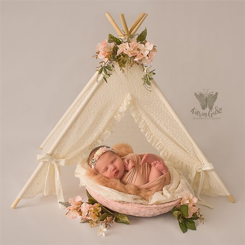 Image 1 - Dvotinst Newborn Baby Photography Props Mini Wigwam Tent Decoration Fotografia Accessories Infantil Studio Shooting Photo Prop-in Hats & Caps from Mother & Kids