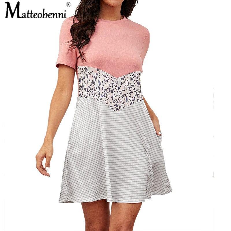 2021 frühling Sommer Neue Frauen Mini Kleid Kurzarm Leopard Print Kleid Frauen Casual Lose Oansatz Tasche Spleißen Kleid Femme