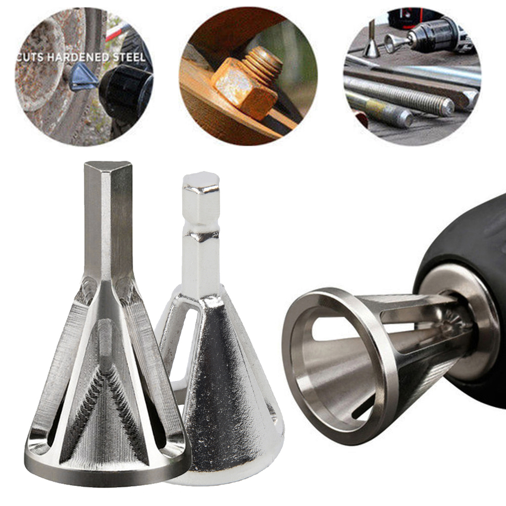 Stainless Steel Deburring External Chamfer Tool Drill Bit Home DIY Workshop Triangle Hexagon Shank Bolt Rebar Burr Removal Tool