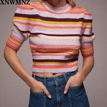 Xnwmnz za женский винтажный полосатый вязаный свитер с круглым